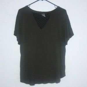 Olive green tee shirt plus lace front ELH studio